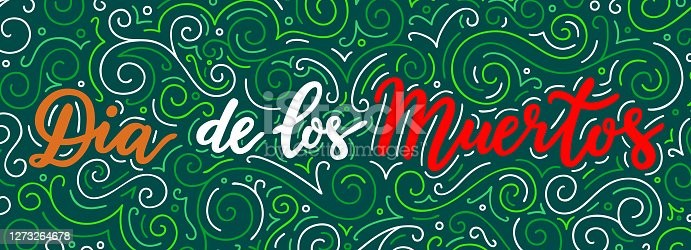 istock Mexican Day of The Dead lettering text inscription on the dark background. Black banner with red, green, white words. 1273264678