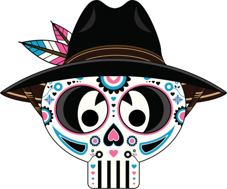 Mexican Day of the Dead Skull in Hat