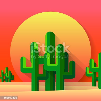The desert of application of style of a cut with a cactus - a vector illustration