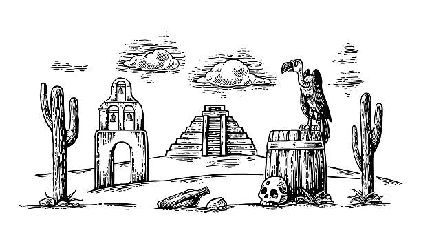 mexican desert landscape with griffin on barrel, cactus, cloud, church - landschaftstattoo stock-grafiken, -clipart, -cartoons und -symbole
