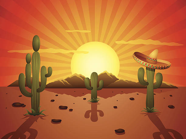 Mexican Desert vector art illustration