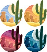 Mexican desert landscape in 4 different versions.