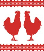 Two cocks silhouettes with mexican ornament. EPS 8