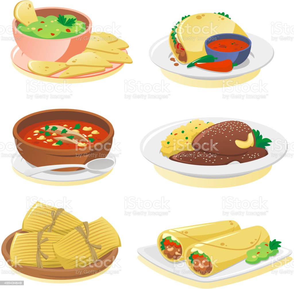 mexican dishes vector art illustration