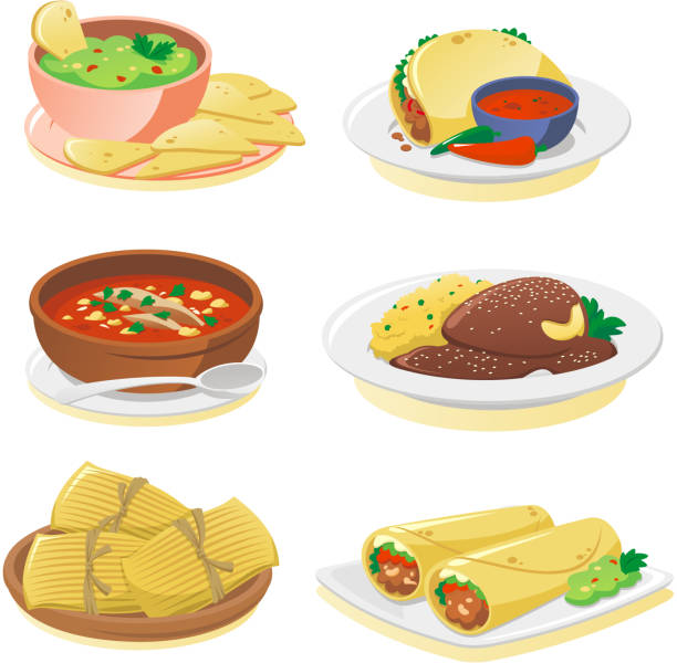 mexican dishes - mexican food stock illustrations, clip art, cartoons, & icons