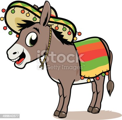 Vector illustration of a cartoon Mexican donkey wearing a sombrero and a colorful blanket.