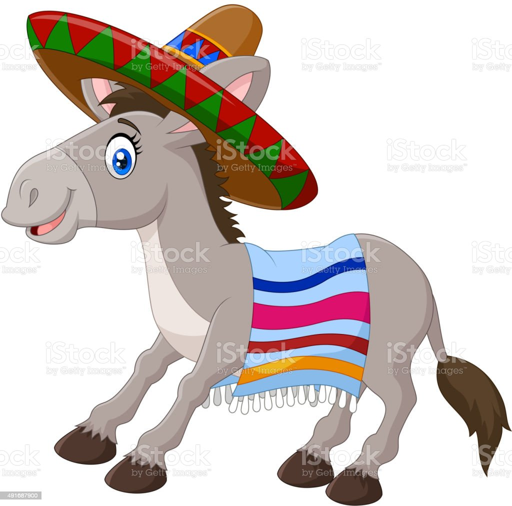 Mexican donkey wearing a sombrero and a colorful blanket vector art illustration