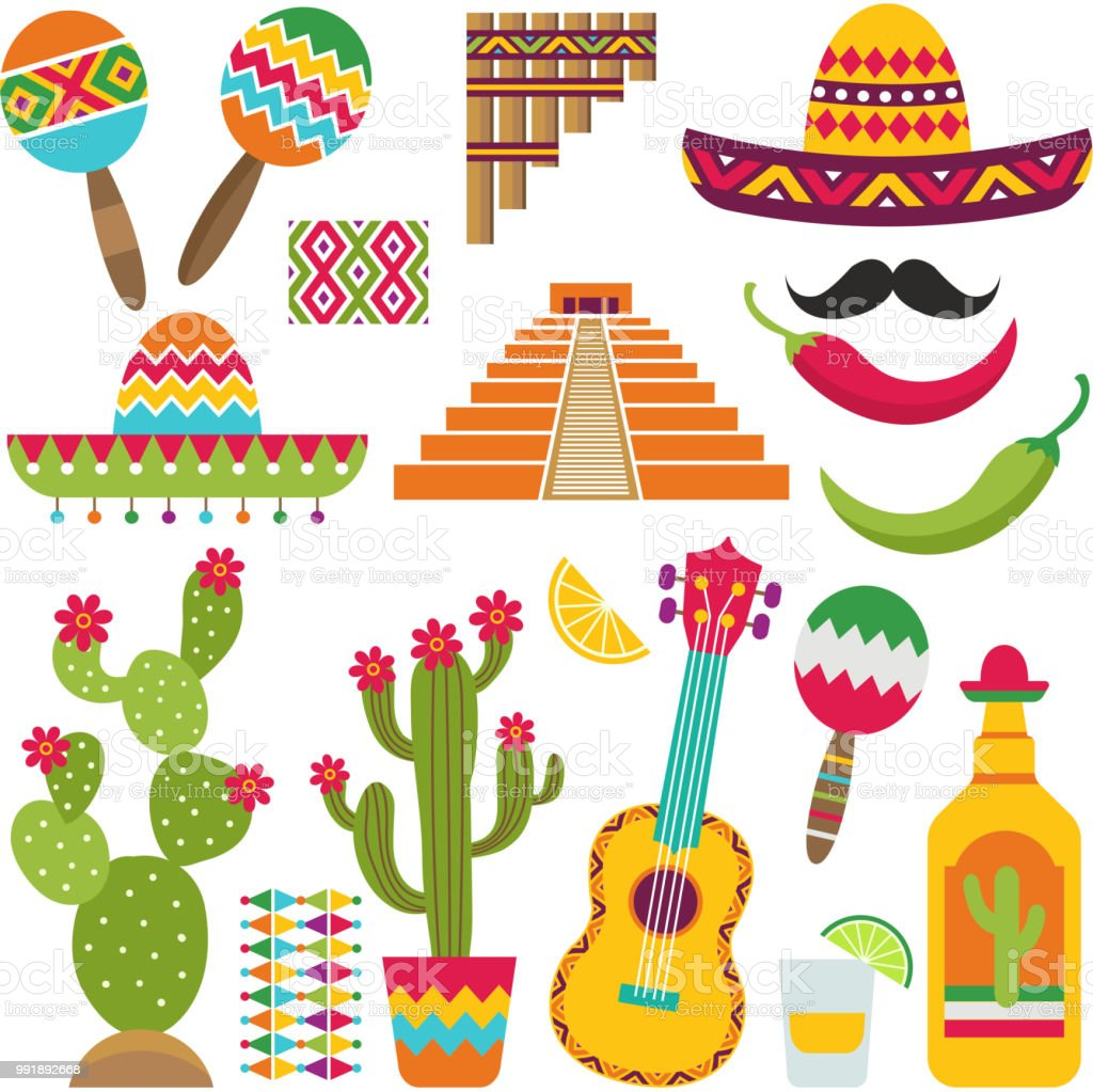 Elementos de mexicanos. Conjunto de símbolos mexicanos tradicionais para vários projetos de design - ilustração de arte em vetor
