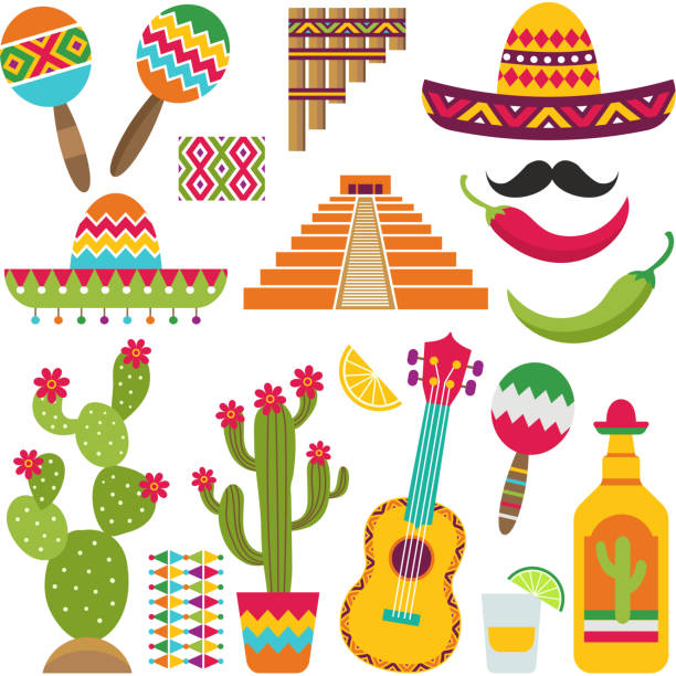 Mexican elements. Set of traditional Mexican symbols for various design projects vector art illustration