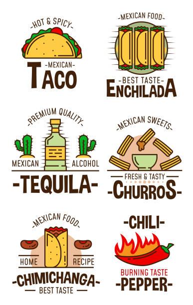 mexikanische fast-food-snacks und desserts - chimichanga stock-grafiken, -clipart, -cartoons und -symbole