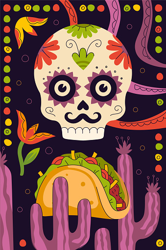 Mexican fast food tacos poster for mexico cuisine restaurant menu for taqueria eatery advertising. Skeleton skull, cactus ornament and traditional Latin American dish tortilla stuffed. Taco banner