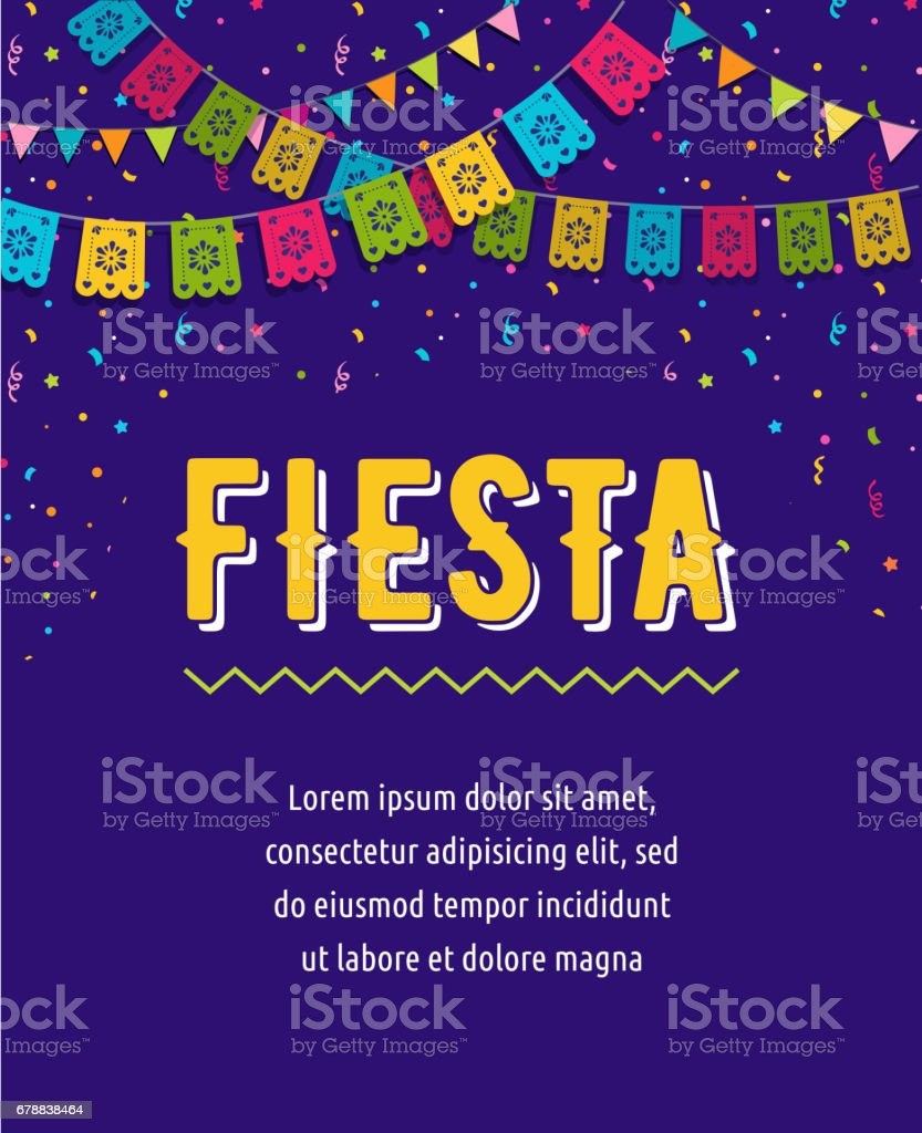 Mexican Fiesta background, banner and poster design with flags, decorations, greeting card vector art illustration