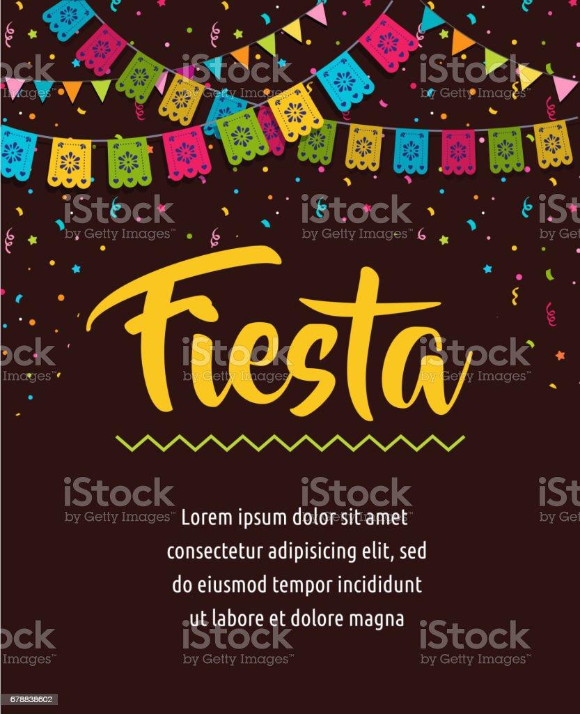 Projeto de plano de fundo, banner e cartaz Fiesta mexicana com bandeiras, decorações, cartão - ilustração de arte em vetor