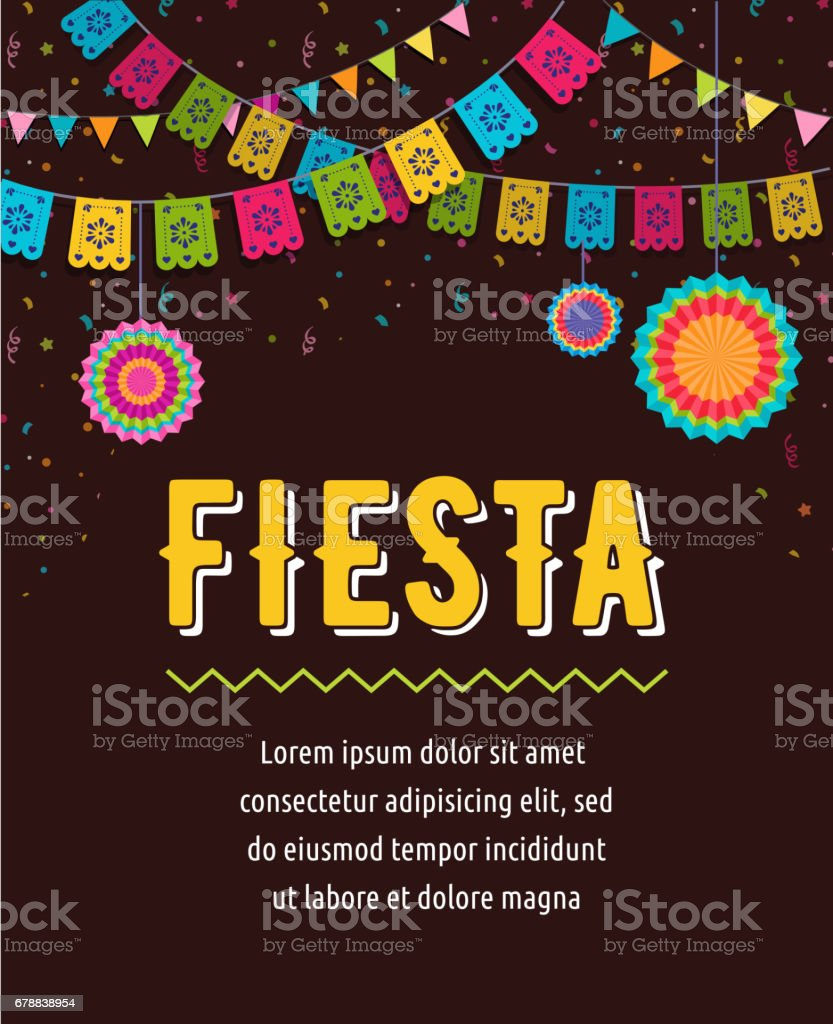 Mexican fiesta background banner and poster design with flags decorations greeting card stock - Poster decoracion ...