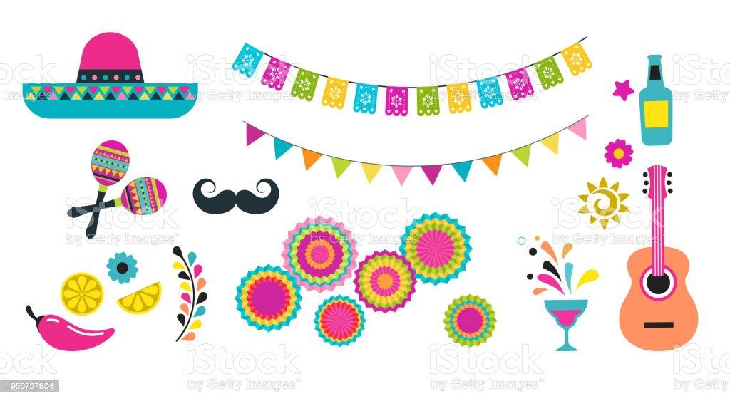 Fiesta mexicana, Cinco de Mayo, ícones e elementos de aniversário - ilustração de arte em vetor