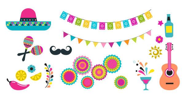 ilustrações, clipart, desenhos animados e ícones de fiesta mexicana, cinco de mayo, ícones e elementos de aniversário - carnaval