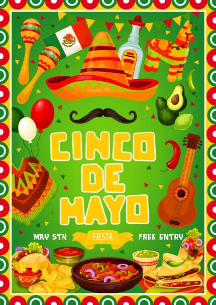 mexican fiesta cinco de mayo holiday party food - cinco de may stock illustrations, clip art, cartoons, & icons