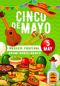 Cinco de Mayo Mexican party on 5 May holiday in Mexico. Vector balloons and bunting flags, traditional Cinco de Mayo Mexican food burrito, nachos and tacos with tequila, avocado guacamole and sombrero