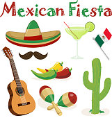 Graphic elements of Cinco de Mayo, included sombrero, margarita drink, maxican flag, jalapeno, cactus, guitar and maracas.