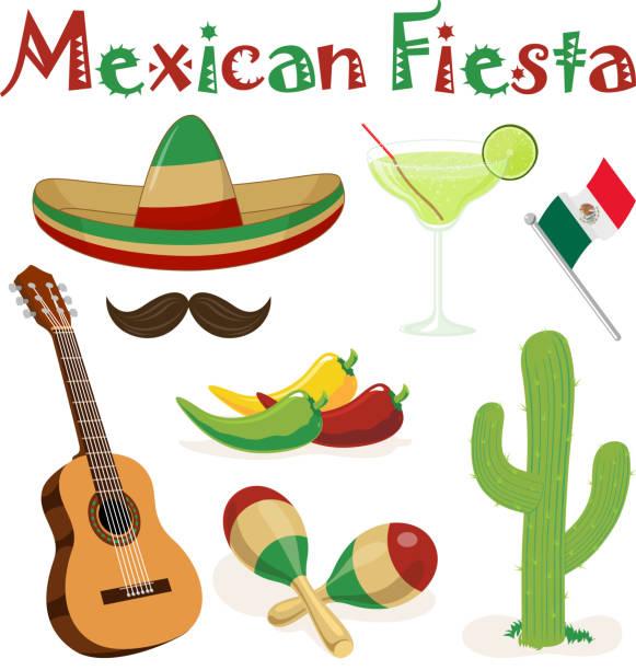 Mexikanische Fiesta Elemente – Vektorgrafik