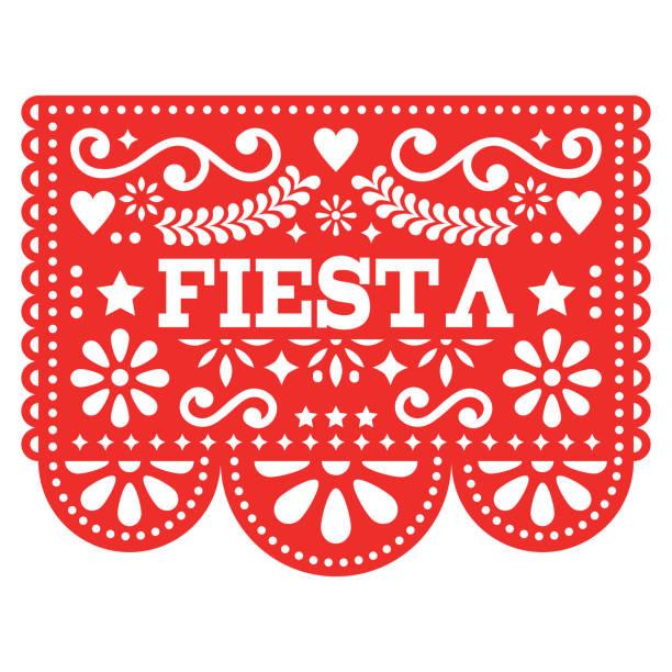 Design de vetor mexicano Fiesta Papel Picado no vermelho - jornal do partido festão cortado com flores e formas geométricas - ilustração de arte em vetor