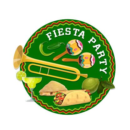 Mexican fiesta party food, drink, maracas, tequila