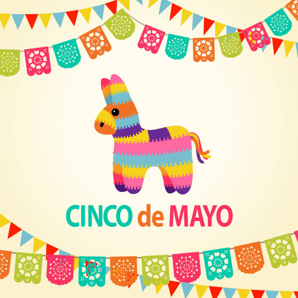 Mexican Fiesta Pinata Party Invitation An party invitation card with papel picado and pinata for the traditional Mexican fiesta Cinco De Mayo cinco de mayo stock illustrations