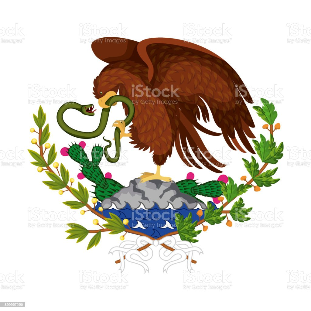 mexican flag emblem of colorful silhouette of eagle with snake in rh istockphoto com