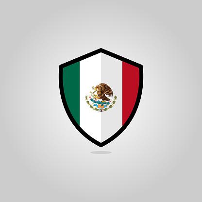 Mexican Flag Flat Vector Shield Badge