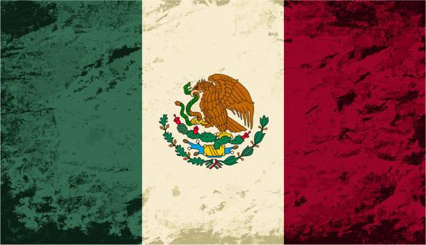 ilustraciones, imágenes clip art, dibujos animados e iconos de stock de bandera mexicana. grunge fondo. ilustración vectorial - bandera mexicana
