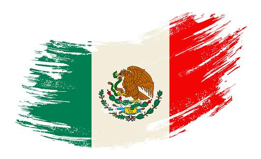 Mexican flag grunge brush background. Vector illustration.