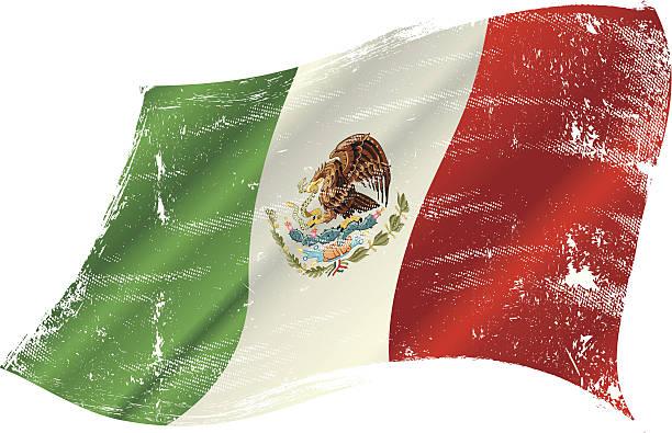 Mexikanische Flagge grunge – Vektorgrafik
