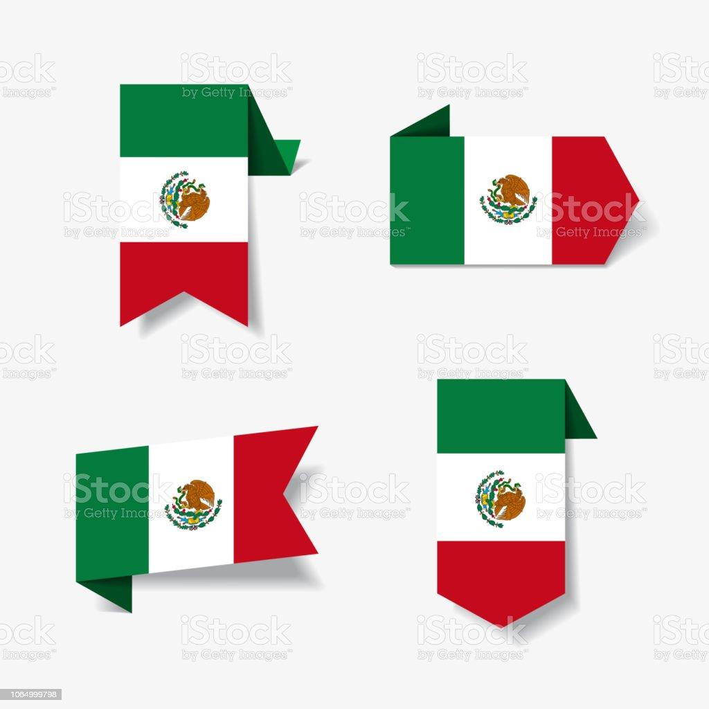 メキシコの国旗ステッカーとラベル。ベクトルの図。 ベクターアートイラスト