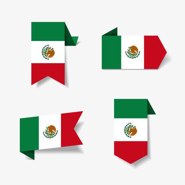メキシコの国旗ステッカーとラベル。ベクトルの図。 - メキシコの国旗点のイラスト素材/クリップアート素材/マンガ素材/アイコン素材