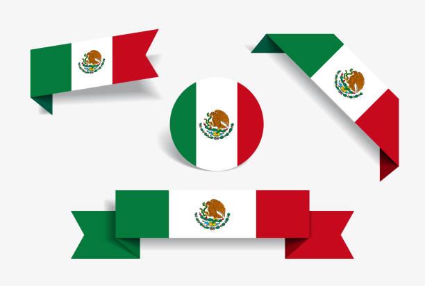 ilustraciones, imágenes clip art, dibujos animados e iconos de stock de etiquetas y pegatinas de la bandera mexicana. ilustración de vector. - bandera mexicana