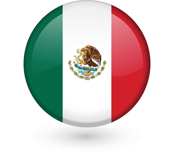 Mexican flag vector button vector art illustration