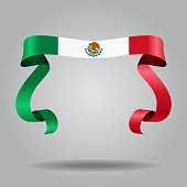 Mexican flag wavy ribbon background. Vector illustration.