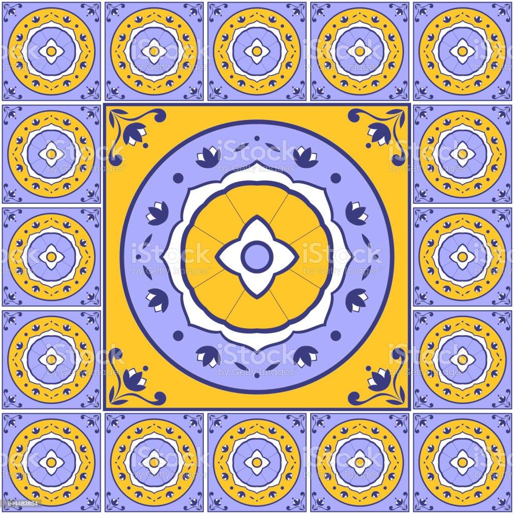 Ilustración de Mexicano Flores Patrón De Azulejos Piso Vector ...