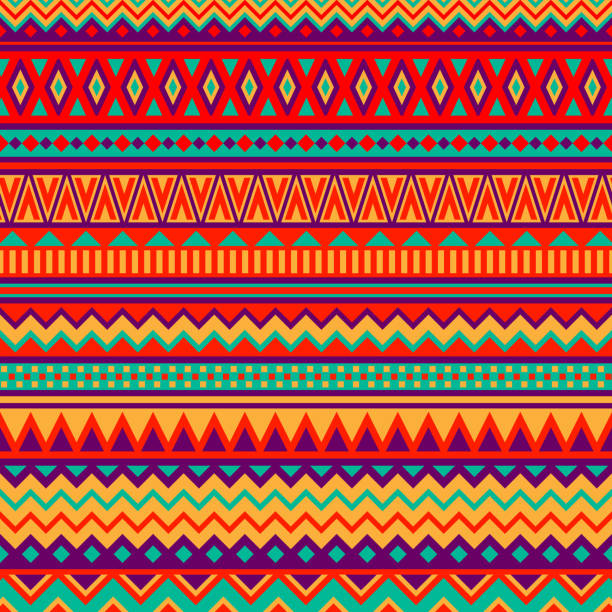 Mexican Folk Art Patterns Various strips motifs, colorful mexican fabric pattern. ethnicity stock illustrations