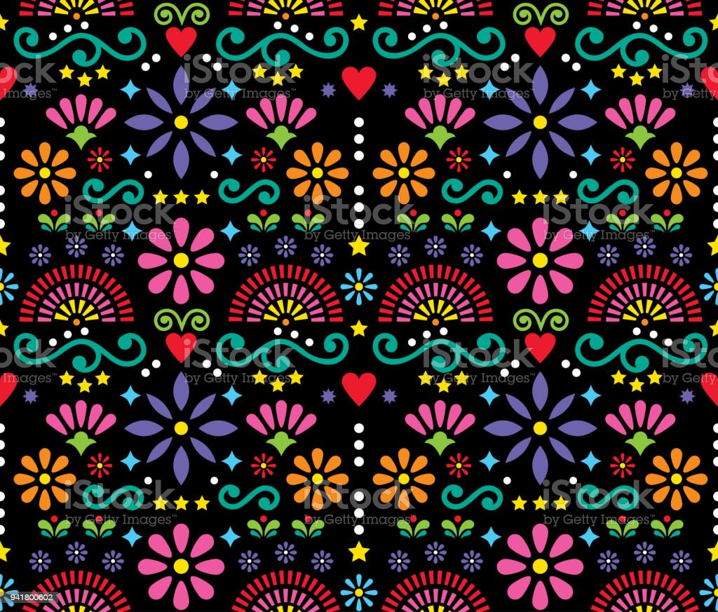 Mexican folk art seamless vector pattern, colorful design with flowers wallpaper inspired by traditional designs from Mexico - Illustration .
