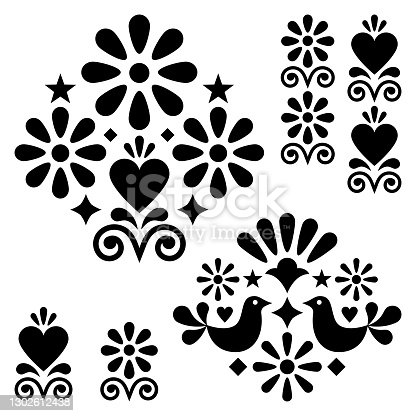 istock Mexican folk art vector designn elements and patterns, black and white motifs with flowers, birds, hearts 1302612438