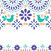 Cute design inspired by traditional art from Mexico flowers, birds and abstract shapes on white background