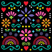 Happy flowers and abstract shapes, retro background, greeting card or invitation isolated on black