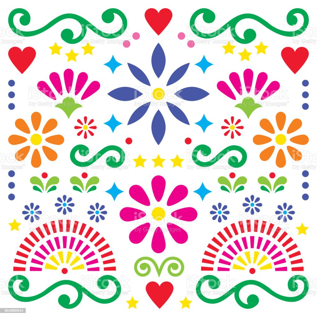 Mexican Folk Art Vector Pattern Colorful Design With Flowers