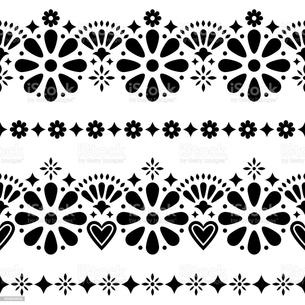 Mexican Folk Seamless Vector Background Black And White Long Designs
