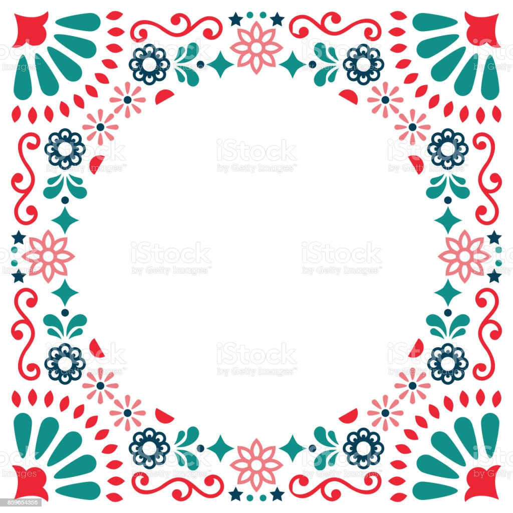 Mexican folk vector greeting card, wedding or party invitation decoration, floral and abstract border, frame vector art illustration