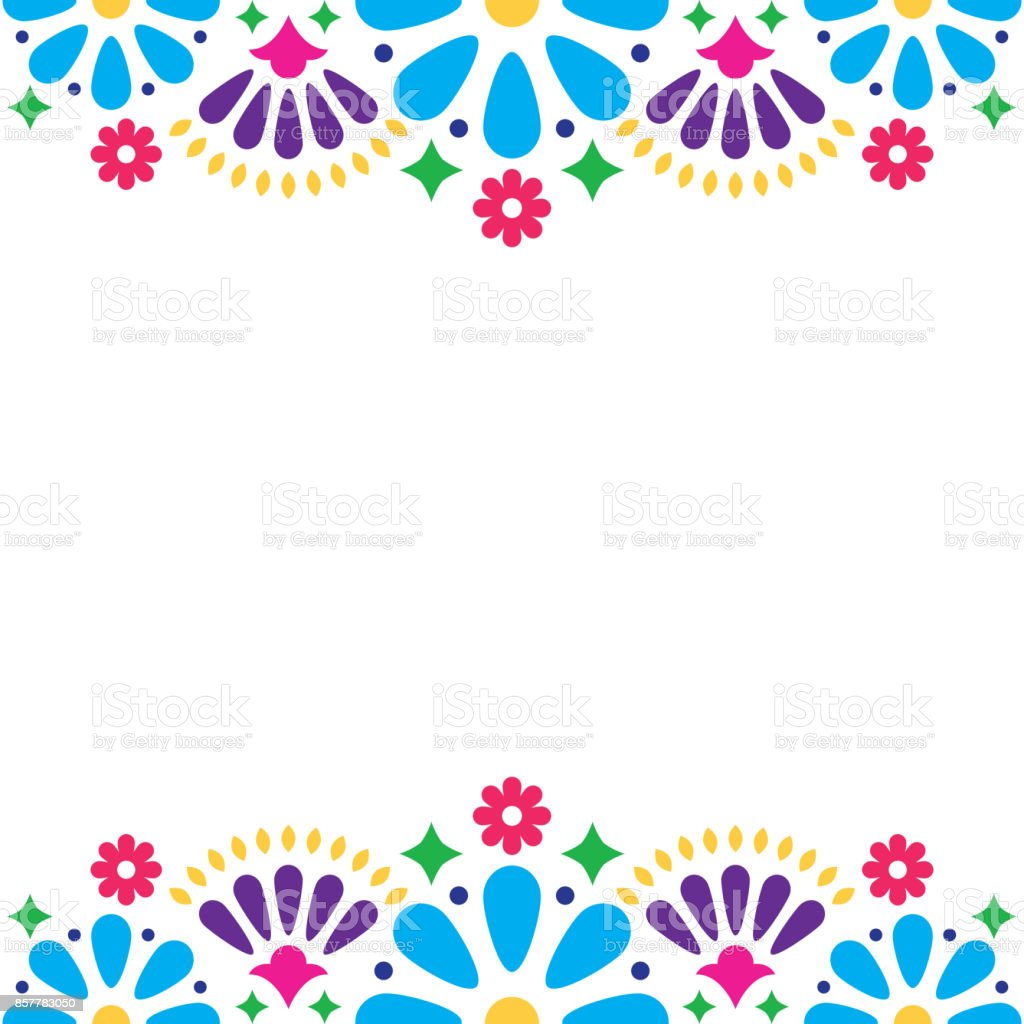 Mexican folk vector wedding or party invitation, floral happy greeting card, colorful design with flowers and abstract shapes vector art illustration