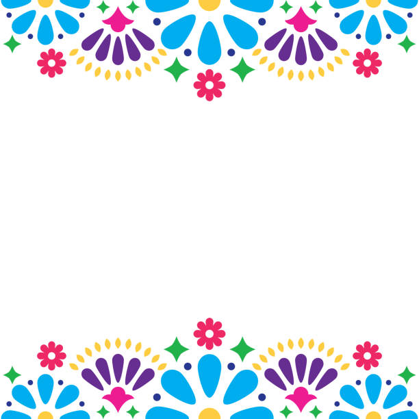 Mexican folk vector wedding or party invitation, floral happy greeting card, colorful design with flowers and abstract shapes Folk art pattern decor inspired by traditional art form Mexico on white background tradition stock illustrations