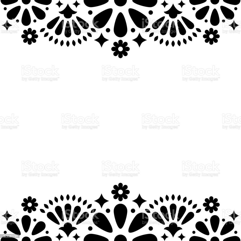 Mexican folk vector wedding or party invitation floral happy mexican folk vector wedding or party invitation floral happy greeting card black and white kristyandbryce Gallery
