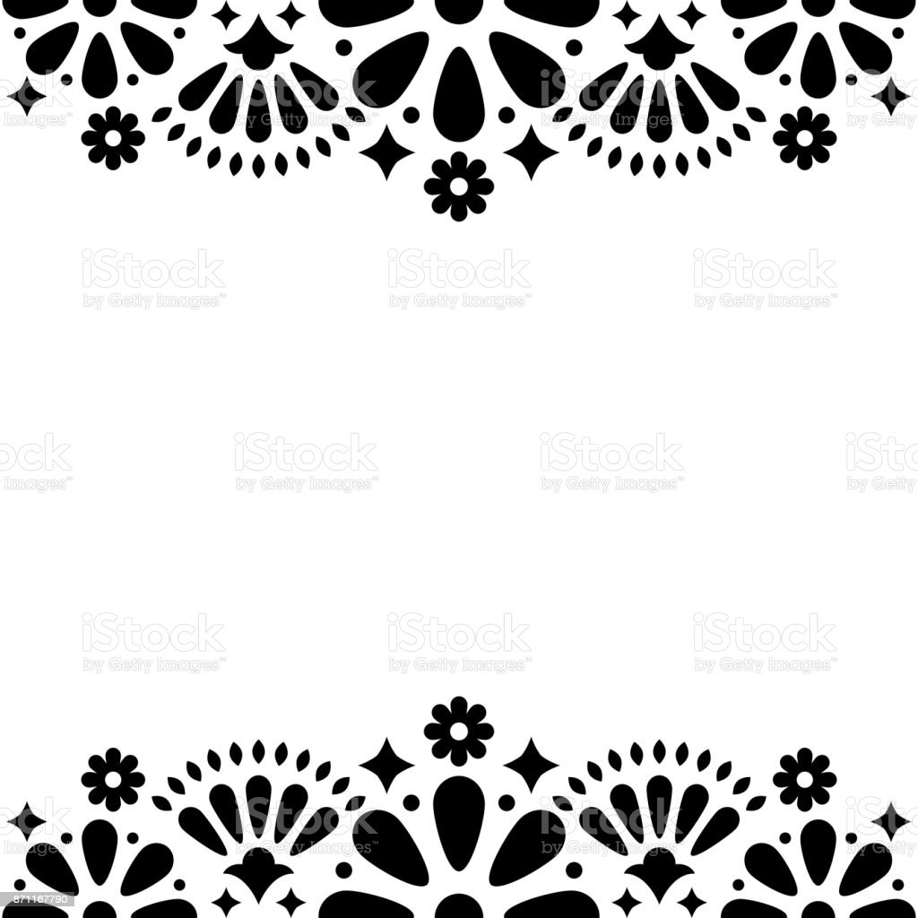 Mexican folk vector wedding or party invitation, floral happy greeting card, black and white frame design with flowers and abstract shapes vector art illustration